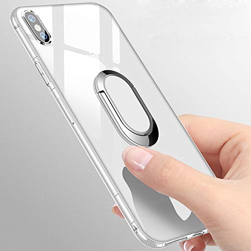 Clear Case for iPhone X (5.8 inch), 360 Rotating Ring Holder Kickstand [Work with Magnetic Car Mount] with Soft TPU Air Cushion Bumper Drop Protection Cover Case for iPhone X