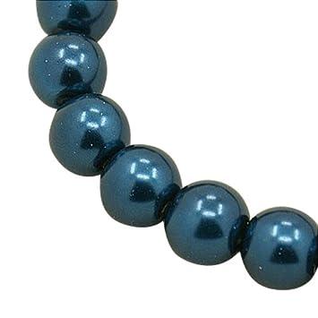 1c5b68e72867 Abalorios redondos de perla de vidrio para hacer collar, la imitaci¨®n de  perla,, azul de acero, 6 mm, agujero: 1 mm, acerca de 140 piezas/ cadena