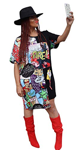 MONASAMA Womens Casual Short Sleeves High Low Asymmetrical Shirt Dresses Digital Graffiti Tunic Party Mini Dress Black S