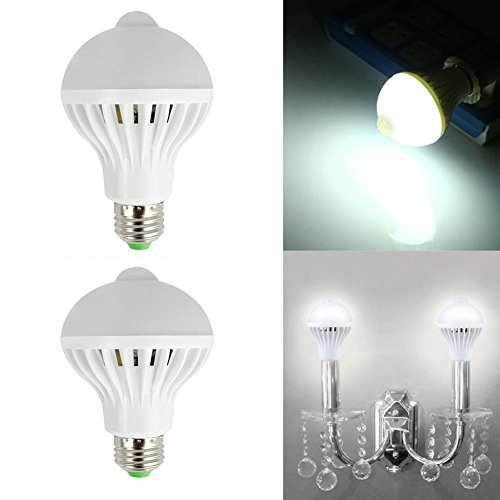 Qzc 9W E27 2pcs/set Led Infrared Motion Sensor Light Bulb,Auto Switch LED Indoor Lighting for Closet,Basement,Stairs,Front Door,Garage and Entrance Way (9W)