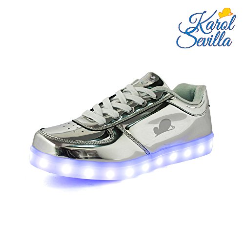 Karol Sevilla Soy Luna. Disney s LED Sneakers. Unisex Silver Grey Leather Shoes. Light Up Glow flashing. Easy USB Charging. Great stitches & non-slip sole. High durability. (US: 7 UK: 5.5 EU: 38) (Great Stitches)