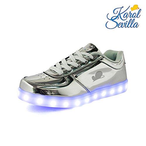 Leather Sole Stitch (Karol Sevilla Soy Luna. Disney s LED Sneakers. Unisex Silver Grey Leather Shoes. Light Up Glow flashing. Easy USB Charging. Great stitches & non-slip sole. High durability. (US: 12.5 UK: 12 EU: 30))