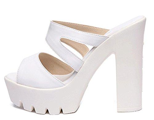 Chunky Plateforme Talon Femme Easemax Blanc Toe Mules Peep Fashion ZROqpY