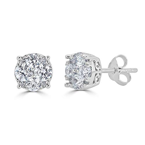 Diamond Stud Earrings Sterling Silver product image