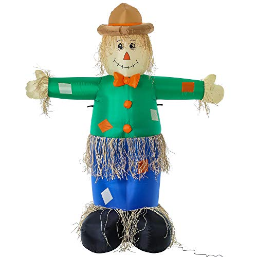 Halloween Haunters Giant 7 Foot Inflatable Scarecrow Yard Prop Decoration with LED Lights - Straw Ghost Pumpkin Patch Farmer Man - Scary Indoor Outdoor Lawn Blow Up - Thanksgiving, Haunted House Party