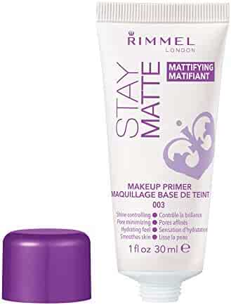Rimmel Stay Matte Primer, 1 Ounce (1 Count), Makeup Primer, Refines Pores, Stops Shine, Smooths Skin, For Use Under Makeup or as a Standalone Skin Matteifying Product