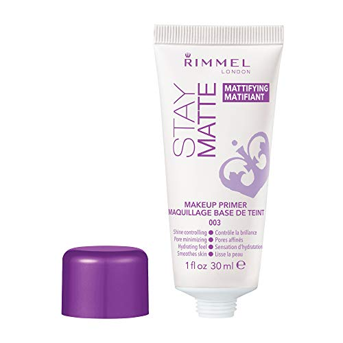 (Rimmel Stay Matte Primer, 1 Ounce (1 Count), Makeup Primer, Refines Pores, Stops Shine, Smooths Skin, For Use Under Makeup or as a Standalone Skin Mattifying Product)