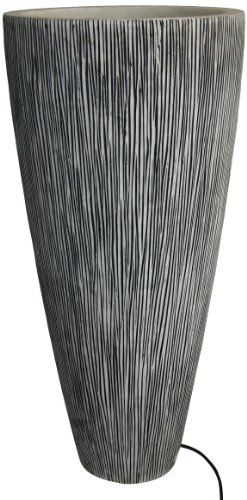 Screen Gems 18 by 39-Inch Sandstone Ribbed Finish Long Conical Planter with Light