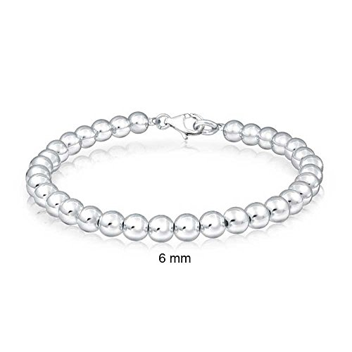 Bling Jewelry 925 Sterling Silver Beaded Ball Wedding Bridal Bracelet (75 Bracelet Sterling Silver Jewelry)