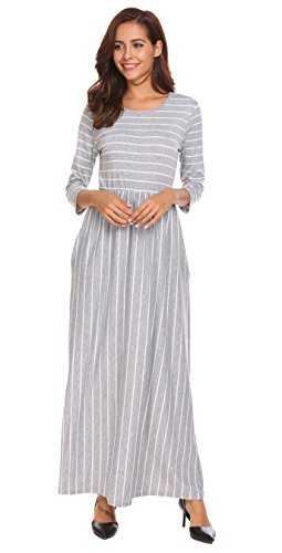 Women 3/4 Sleeve Casual Elastic Waist Striped Flare Long Maxi Dress with Pockets (XXL, Light Gray)