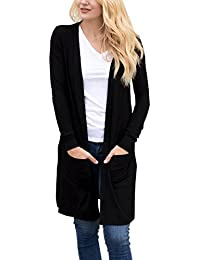 Women's Long Sleeve Open Front Loose Causal Lightweight Kimono Cardigan