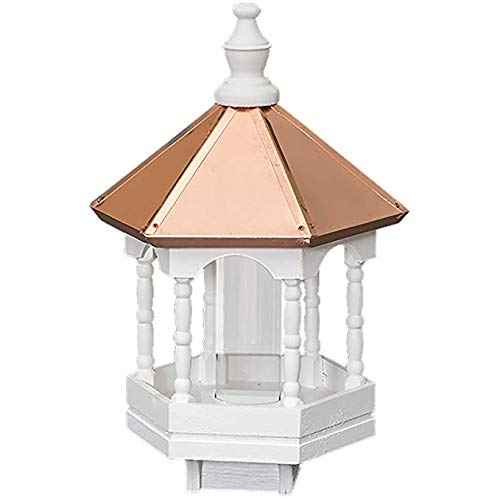 Amish Bird Feeder with Spindles and Copper Roof, Handcrafted in the USA