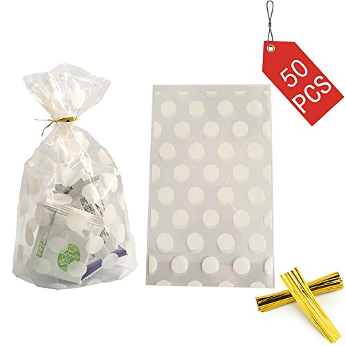 Clear Cello Bags Candy Cookie Treat Plastic Bag White Dot Cellophane party favor bags with Twist Ties for Wedding,Bridal Shower,Birthday,Baby Shower,celebration party supplies decorations,50pcs ()