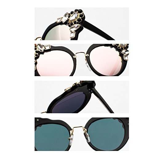 Polvo elegante con Retro de Eye Frame diamante Diseño Cat Women Oversized Polvo de Yefree Caja Sunglasses nwR8xqZgtz