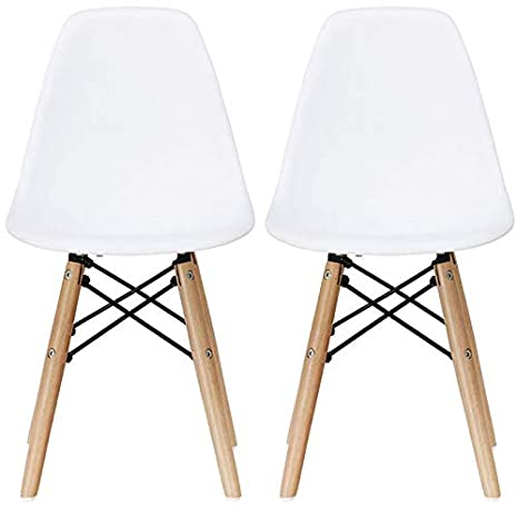 Astonishing 2Xhome Set Of Two 2 White Plastic Chair For Kids Size Plastic Chair Size Side Chairs Plastic Chairs White Seat Natural Wood Wooden Legs Eiffel Machost Co Dining Chair Design Ideas Machostcouk