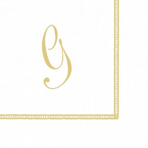 Monogram Cocktail Napkins - Entertaining with Caspari Monogram Initial G Paper Cocktail Napkins, Pack of 20