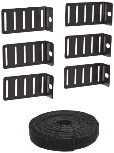 BUD Industries CM-2200 16 Gauge Steel Cable Management Bracket, 1-1/2'' Width x 1'' Height x 3'' Depth, Black Finish by BUD Industries