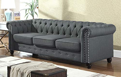 (Best Master Furniture YS001 Venice Upholstered Sofa, Charcoal)