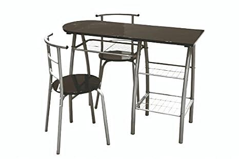 Galileo casa brunch penisola con sedie legno nero 110x43x80 cm 3