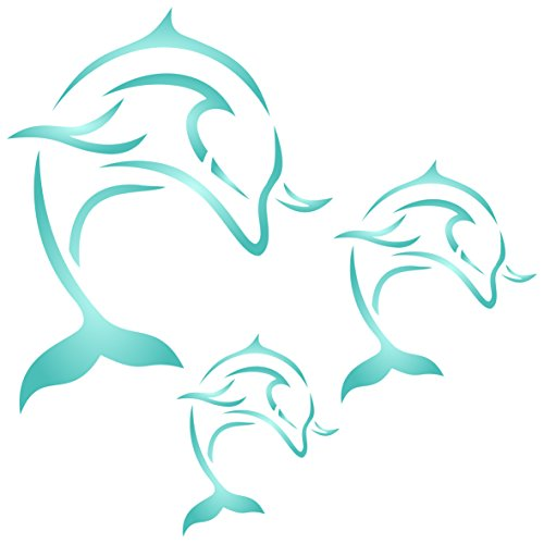 """Dolphin Mural Stencil - (size 10.5""""w x 10.5""""h) Reusable Wall Stencils for Painting - Best Quality Decor Ideas - Use on Walls, Floors, Fabrics, Glass, Wood, and More..."""