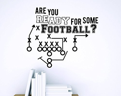 Wall Stickers Sports Item - Design with Vinyl Zzz 799 2 Decor Item Are You Ready for Some Football ? Sports Quote Wall Sticker Decal, 16-Inch x 24-Inch, Black