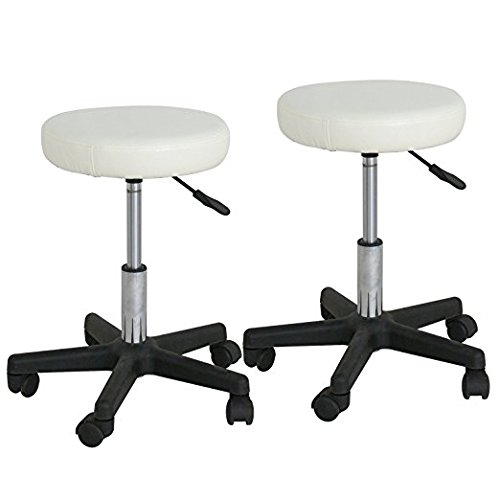Adjustable Hydraulic Rolling Swivel Salon Stool Chair Tattoo Massage Facial Spa Stool Chair White (PU Leather Cushion) (2pcs)