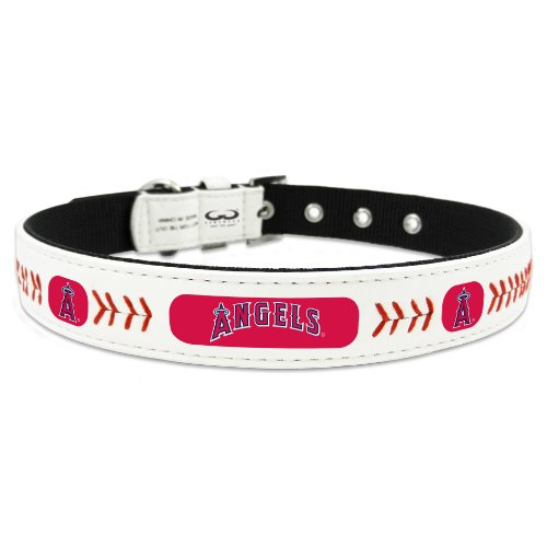 MLB Los Angeles Angels Classic Leather Baseball Dog Collar (Anaheim White Baseball)