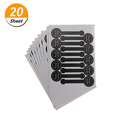 200pcs Black Lollipop Hand Made Sealing Sticker, Hand Made Adhesive Label for Tins Boxes Bags