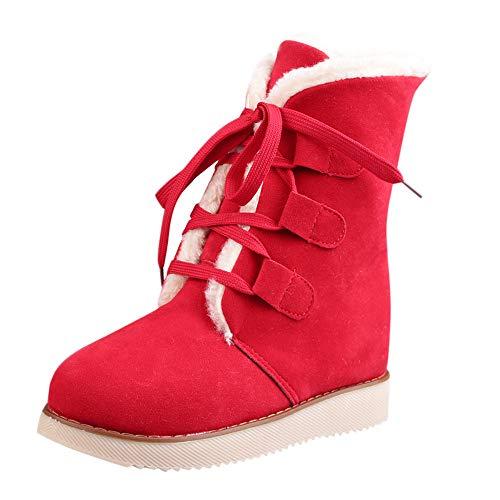 Martin D'hiver Neige Rouge Courte Botte Chaudes Femmes Lacets Pour Bottes ngwUq6XX