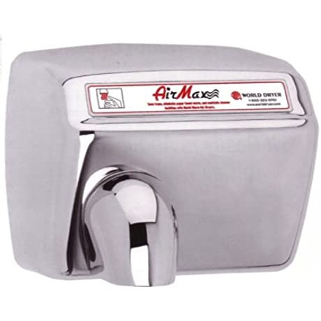 Dxm54 973 Airmax Hand Dryer By World Dryer Automatic Brushed Stainless Steel Surface Mounted 208 230 Volts