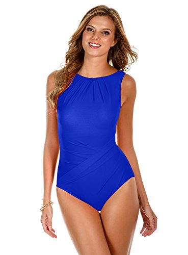 - 41bzEkzLVpL - Miraclesuit Women's Miracle Solids One Piece High Neck Swimsuit