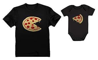 Pizza Pie & Slice Dad & Baby Set Baby Bodysuit & Men's T-Shirt Shower Gift Dad Black X-Large/Baby Black Newborn (0-3M)
