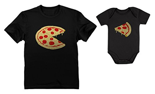 Pizza Pie & Slice Dad & Baby Set Baby Bodysuit & Men's T-Shirt Shower Gift Dad Black X-Large/Baby Black Newborn (0-3M)