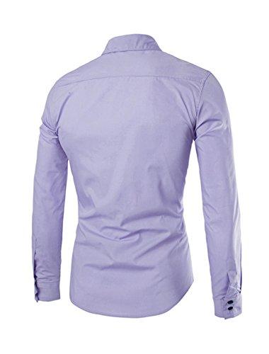 sourcingmap Hombre Estampado Cuello De Punto Con Botones Camisa Manga Larga Casual Lavanda