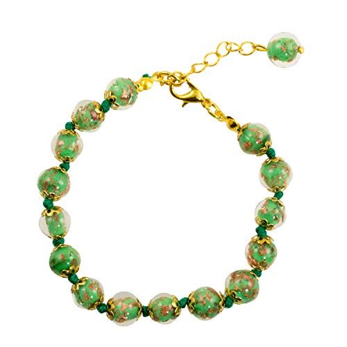 (Just Give Me Jewels Genuine Venice Murano Sommerso Aventurina Glass Bead Strand Bracelet in Green, 8+1