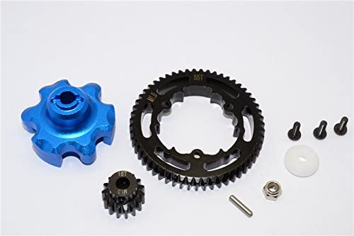 Traxxas X-Maxx 4X4 Upgrade Parts Aluminum Gear Adapter + Steel Spur Gear 55T + Motor Gear 15T (for X-Maxx 6S Only) - 1 Set Blue