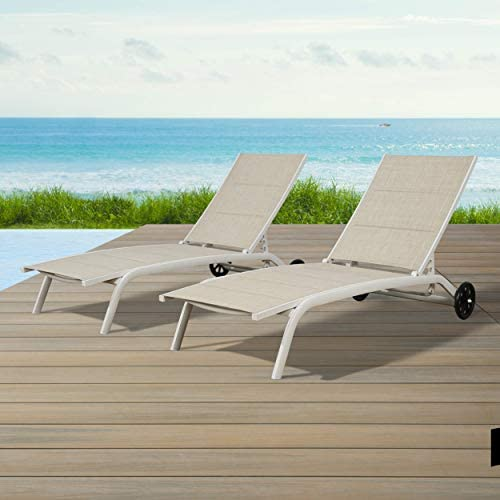 Ulax Furniture Outdoor Chaise Lounge Adjustable Patio Reclining Chaise Chair
