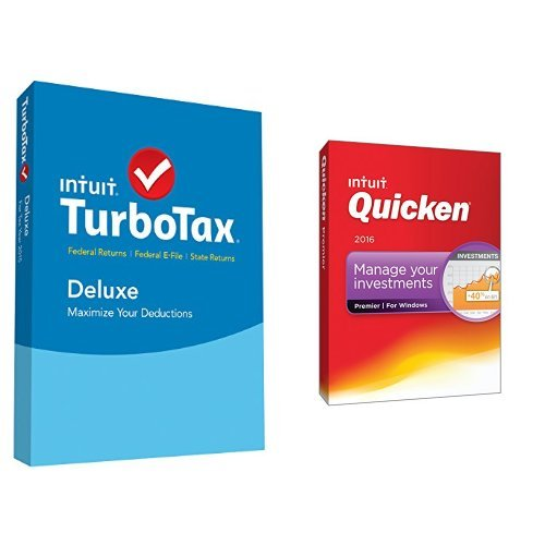 TurboTax Deluxe 2015 Federal + State Taxes + Fed Efile Tax Preparation Software PC/Mac Disc with Quicken Premier 2016 PC Disc