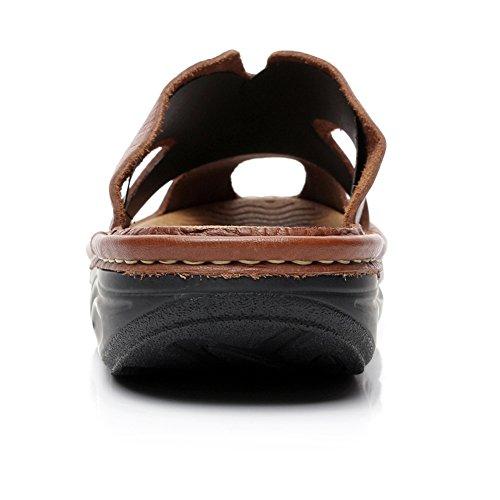 Rismart Menns High-end Ekte Skinn Sandal Tøfler Komfort Plattform Tresko Og Muldyr Brun 310118 Us8.5