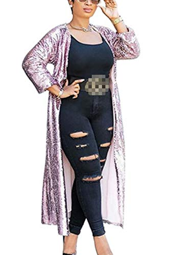 Long Zinmuwa Femmes Sequined Rose Manches Open Club De Longues Devant Cardigan HqF5axwq