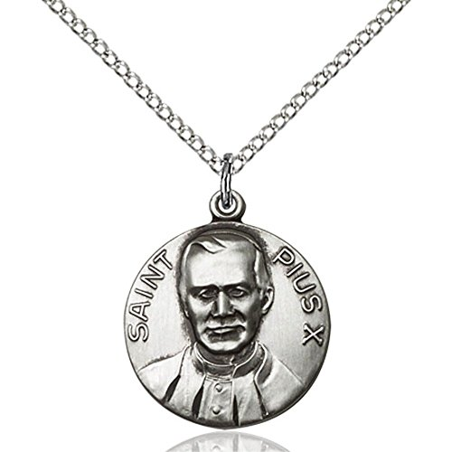 Sterling Silver Pope Pius X Pendant 3/4 x 5/8 inches with Sterling Silver Lite Curb Chain