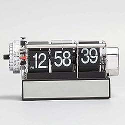 KikerTech KHOME Modern Mechanical, Page Turing Desk Clock, Moving Gear Wall Clock, 3D Movements, Novelty Desk Clock, Office Shelf Clock Home Decorative Alarm (Black, Desk Flip)