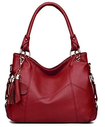 Dreubea Womens Soft Leather Hobo Handbag Large Size Tote Shoulder Crossbody Bag Dark Red