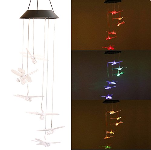 PGCOKO Color-Changing LED Solar Mobile Wind Chimes, Hanging Waterproof Six Dragonfly Solar Powered LED Light Wind Chimes for Outdoor Indoor Home yard Garden Party Night Decoration Valentines Gift