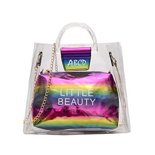 (Women's Makeup Bag Miuye Clear Jelly Letter Cross Body Bag Fashion Hobo Bags Shoulder Handbags Cell Phone Purse)