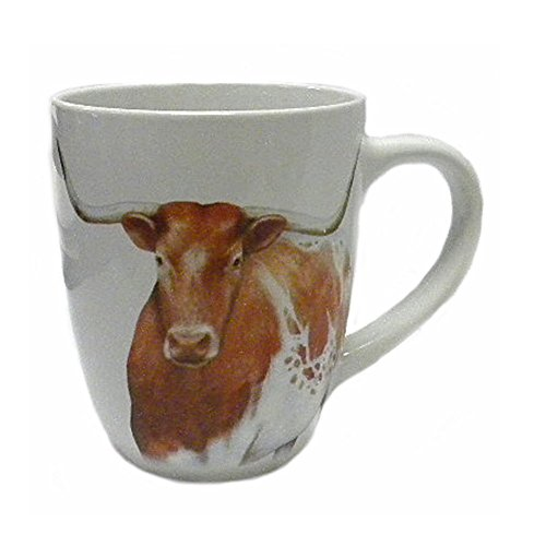 Longhorn Steer, Texas Star & Horseshoe Stoneware Coffee Mug-20 Oz