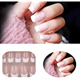Premium Salon Acrylic French Nails Natural French Long/Medium False Nails 24PCS/PACK