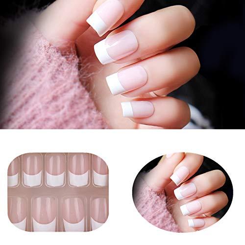 Premium Salon Acrylic French Nails Natural French Long/Medium False Nails 24PCS/PACK