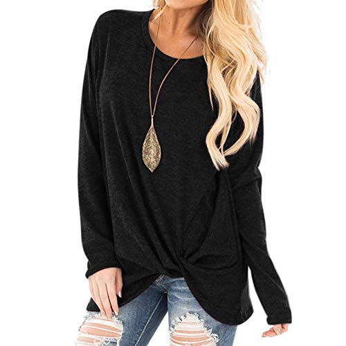 KANGMOON Women's Comfy Casual Long Sleeve Round Neck Tops Side Twist Knotted Loose Blouse Tunic T Shirts Sweatshirts S-XXL