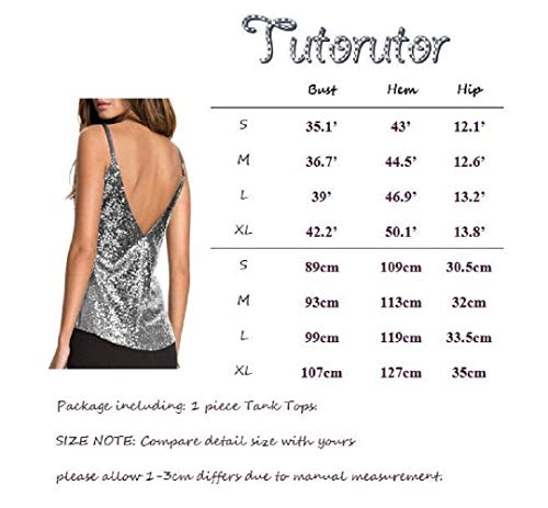 a09f0de39319a Womens Sequin Top Party Club Backless Spaghetti Strap Cami V Neck Sparkle  Tank Tops